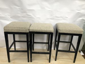 Set of 3 matching stools with corduroy fabric could use cleaning price is for all for Sale in Portland, OR