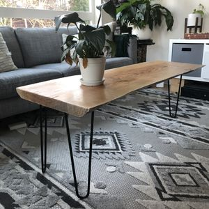 Handmade live edge coffee table hairpin legs for Sale in Portland, OR