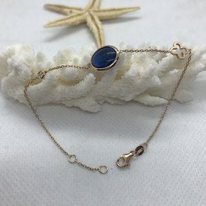 14 K Gold 0.04ct. Diamond Blue Stone Bracelet for Sale in New York, NY