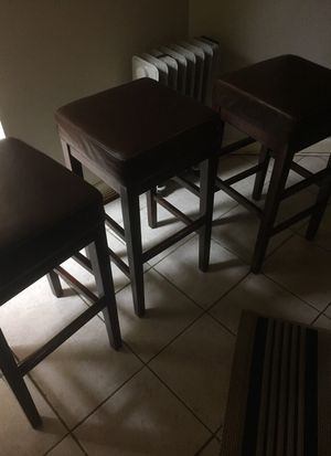 3 Brown Leather Bar Stools $30 each for Sale in Washington, DC