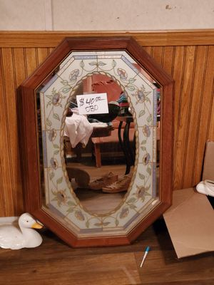 Antique Solid oak Octagon stained glass mirror for Sale in Piedmont, SC