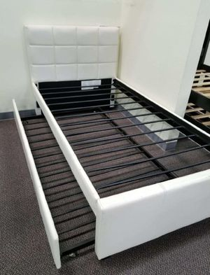 Brand New Twin Size Leather Trundle Bed for Sale in Silver Spring, MD