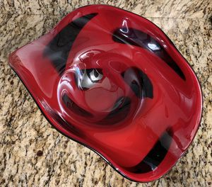 Beautiful Vintage Lazarri Collection: Glass Bowl Red &Black Swirl for Sale in Willoughby, OH