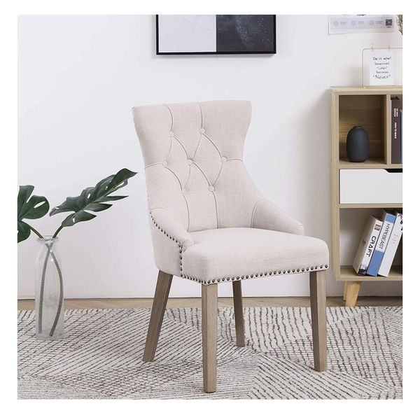 Ivory beige wingback dining chair tufted accent captain highback dining chair NEW multiple available dining chairs beige desk chair