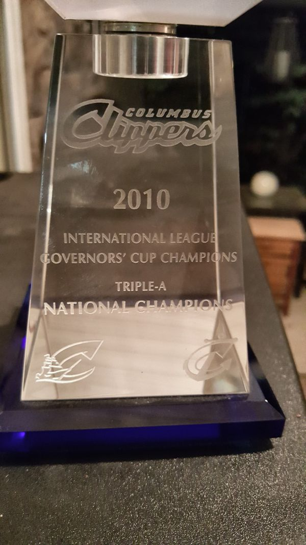 Rare Cleveland Indians/ Columbus Clippers crystal trophy