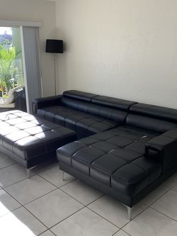 2 Pc Faux Leather Black Sectional With Ottoman for Sale in Fort Lauderdale,  FL