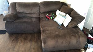 Brown suede reclining couch for Sale in Jersey City, NJ