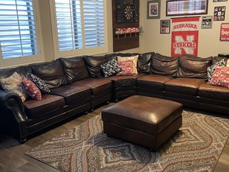 Dark Brown Leather Sectional for Sale in Chandler,  AZ