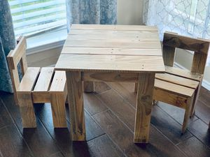 Wooden kids table with two chairs for Sale in Mesquite, TX
