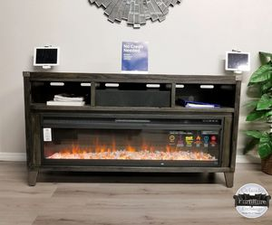 $50 down financing!!! BRAND NEW GREY TV STAND WITH FIREPLACE OPTION!!!!!! for Sale in Oviedo, FL