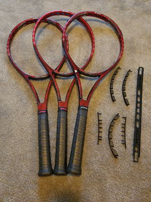 3X USED, PROFESSIONALLY MATCHED PRINCE IGNITE TEAM 95 TENNIS RACQUETS + NEW GROMMET SET for Sale in Joliet, IL