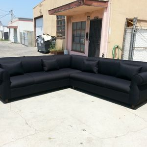 NEW 9X9FT DOMINO BLACK FABRIC SECTIONAL COUCHES for Sale in Fresno, CA