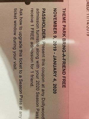 Dollywood ticket's nov-jan for Sale in Westminster, SC