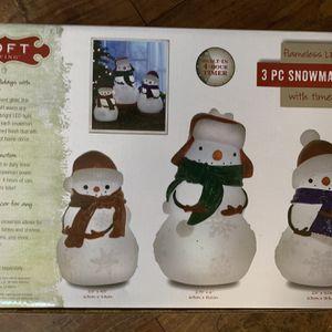 Loft Living 3 Pc. Snowman Set Flameless Led Candle Set for Sale in Lexington, SC
