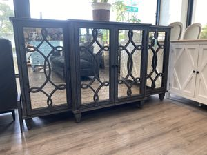 """78"""" Brand New Charcoal Gray Antiqued Mirror Console Buffet Entertainment Media Credenza for Sale in West Palm Beach, FL"""