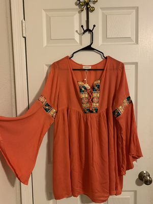 Women's Coral Long Sleeve Dress With Tribal Detail for Sale in Phoenix, AZ