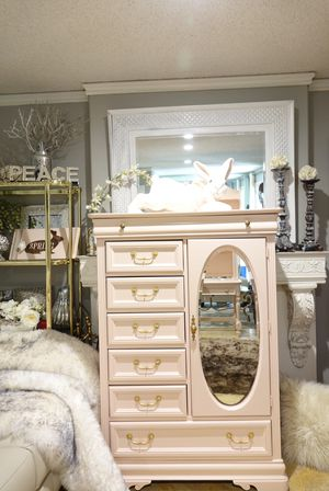 Blush Pink Six-Drawer Dresser with Cabinet/Mirror and Gold Handles for Sale in Covina, CA