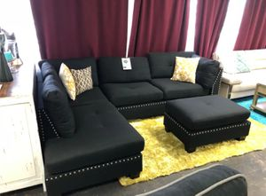 Brand New Black Linen Sectional Sofa Couch + Ottoman for Sale in Kensington, MD