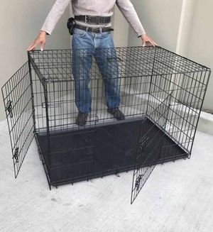 New in box 48x30x32 inches tall large 2 doors foldable dog cage crate kennel for pet up to 100 lbs for Sale in El Monte, CA