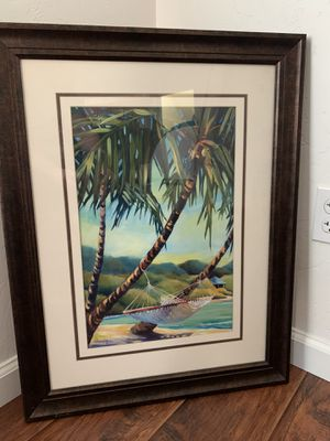 36inch by 24 inch tropical wall art picture in frame for Sale in Fresno, CA