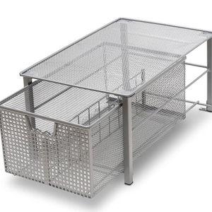 DecoBros Mesh Cabinet Basket Organizer, Silver (Large - 10 x 15.8 x 7.5) for Sale in East Brunswick, NJ