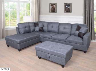 🔥New! Grey comfy grey sofa sectional w/XL storage ottoman for Sale in Escondido,  CA