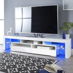 "New 63"" tv stand in box with LED lights plus remote fits tv up to 75"" for Sale in Fort Lauderdale, FL"