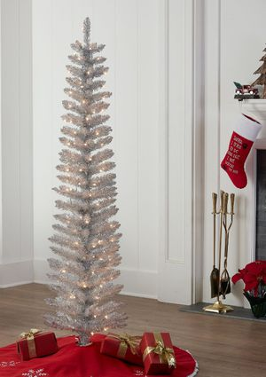 6' Pre-Lit Silver Tinsel Christmas Tree for Sale in Arvada, CO