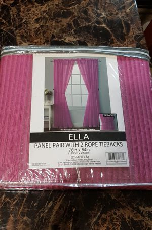New 2 panel curtains with 2 rope tiebacks only $5 for Sale in Rancho Cucamonga, CA