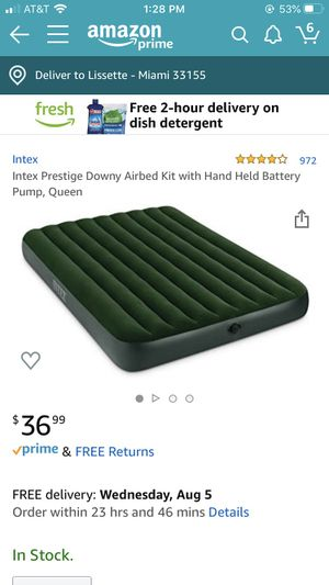 Intex Air Mattress (Queen) with Handheld battery pump for Sale in Las Vegas, NV