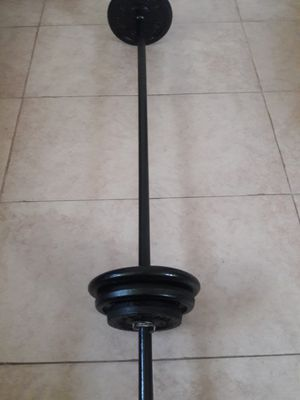 Solid Steel Standard 5ft Straight Bar with Weights & Spring Clamps for Sale in North Miami, FL