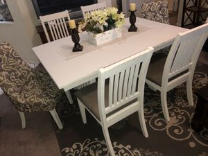 Dining table dinner table kitchen table dinning set farmhouse seats 6 six chairs off white wood for Sale in Glendale, AZ