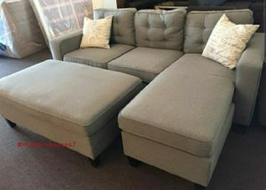 Grey sectional sofa with ottoman convertible sleeper couch for Sale in Cerritos, CA