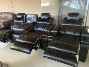 Brown leather electric recliner set for Sale in Glendale, AZ
