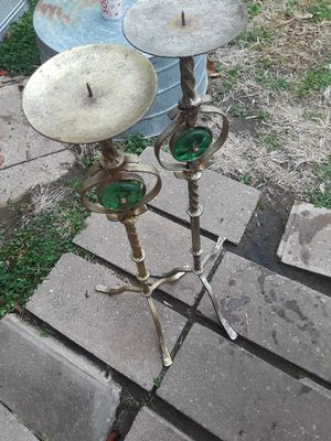 2x- 28 inch gold/brass candle holders for Sale in Midwest City, OK