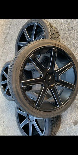 """Like New KMC 22"""" Rims & Tires 5x5 Wheels Chevy Silverado GMC Sierra 22 📞CALL(2I4)742-O77O 🔥Easy Financing Available w/ No Credit Check! Low payments for Sale in Dallas, TX"""