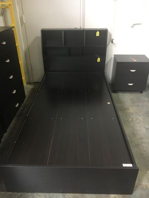 3-Drawer Storage Bed Frame with Bookcase Headboard, Espresso for Sale in Santa Fe Springs, CA