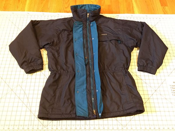 VINTAGE PATAGONIA LADIES BLACK FULL ZIP SKI JACKET SIZE 12 - LARGE - NO HOOD