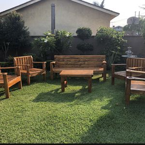 """Custom made Outdoor Patio furniture (GOLDEN OAK STAIN) - Bench 6ft x 2 ft 4 Chairs 24"""" x 24"""" One Table 35""""x 20 1/2 x 20 ht Made with screws no nails for Sale in El Monte, CA"""