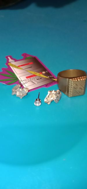 Silver nuggets and diamond earring and a 10 k gold ring all for 100 the lowest 95 if I have to drop off for Sale in San Antonio, TX