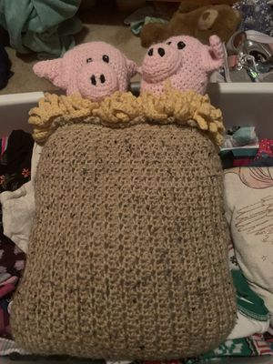 Handmade crochet pig in a sac pillow. for Sale in Raleigh, NC