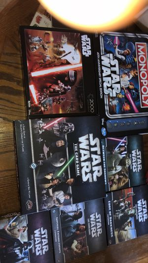 Star Wars Lot Monopoly, 2000 piece puzzle and Star Wars Card Game with expansions for Sale in Taylorsville, KY