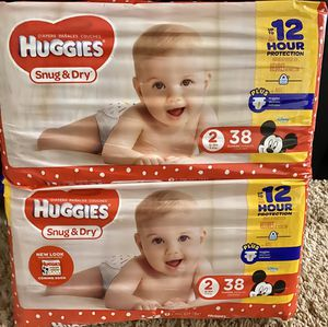 Huggies Size 2 Diapers (2 packs of 38 count each) $10.00 per bag firm for Sale in Canby, OR