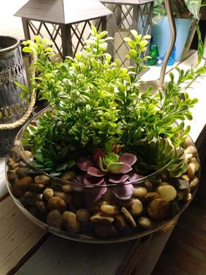 Large Artificial succulents glass bowl for Sale in Manvel, TX