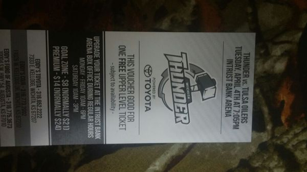 I have 10 thunder tickets for 15 bucks each need gone asap