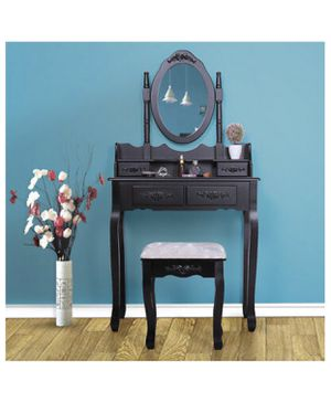 4 Drawers Vanity Table Set with Mirror and Cushioned Stool Makeup Dressing Table for Sale in Orlando, FL
