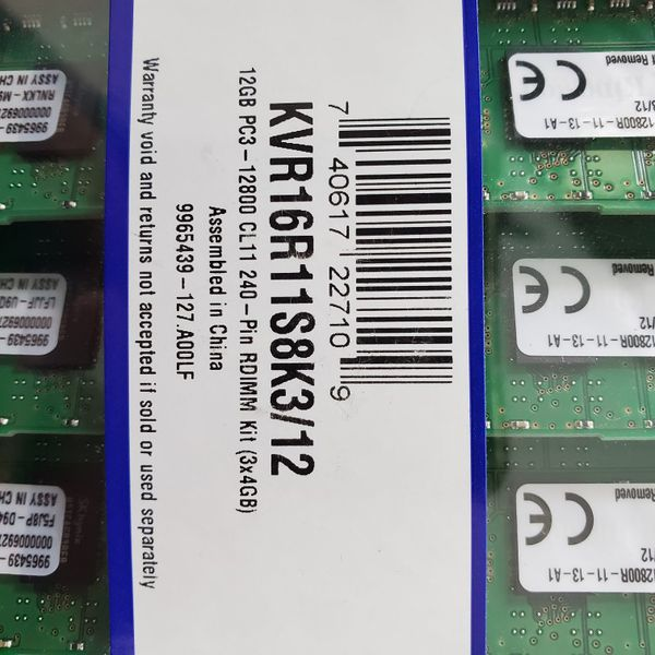 Kingston Technology 12GB 1600MHz DDR3 ECC Reg CL11 DIMM (Kit of 3) 1Rx8 Server & Workstation Memory KVR16R11S8K3/12