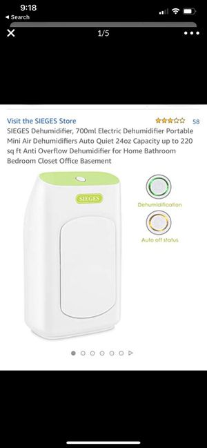 SIEGES Dehumidifier, 700ml Electric Dehumidifier Portable Mini Air Dehumidifiers Auto Quiet 24oz Capacity up to 220 sq ft Anti Overflow Dehumidifier for Sale in Montclair, CA