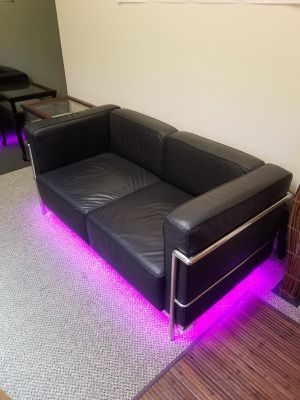 2 seater Leather couch with LED's for Sale in Miami, FL