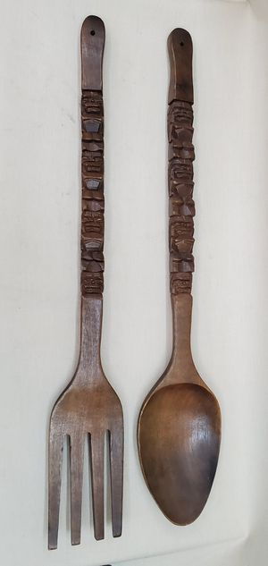 "Large 36"" Fork & Spoon Kitchen Decor - Hawaiian Art Tiki Carved Handles for Sale in Goodyear, AZ"